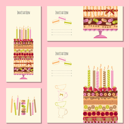 event party: 4 invitation cards with big multilayer cake. Template. Birthday, anniversary, children's party, special event. Vector illustration