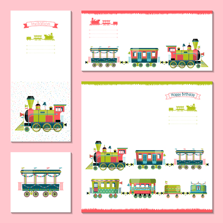 4 universal cards with toy train. Template. Birthday, anniversary, children's party, invitation, special event. Vector illustration