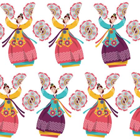 전통적인 팬 춤을 수행하는 한국 여성. 한국의 전통. 원활한 배경 무늬입니다. 벡터 일러스트 레이 션