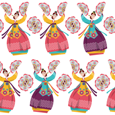 Korean women performing a traditional fan dance. Korean tradition. Seamless background pattern. Vector illustration