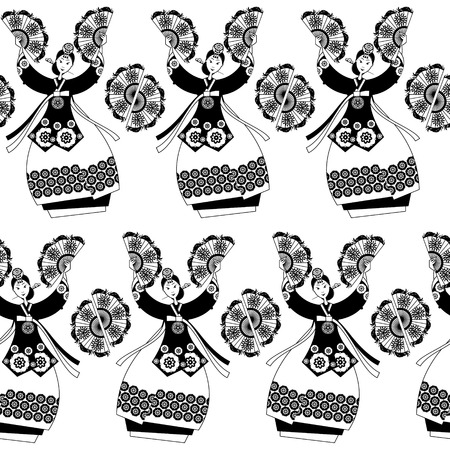 actresses: Korean women performing a traditional fan dance. Korean tradition. Black and white. Seamless background pattern. Vector illustration
