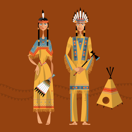Native american indian couple in traditional clothing. Vector illustration Illustration