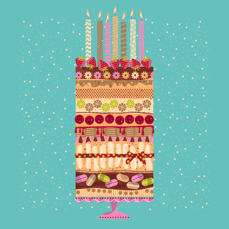 multilayer: Big multilayer cake with candles and berries. Vector illustration