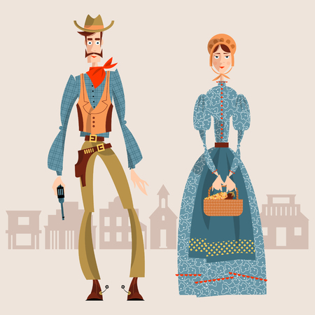 silhouette america: Wild west. Cowboy and girl. Vector illustrationCoWild west. Cowboy and girl. Vector illustration