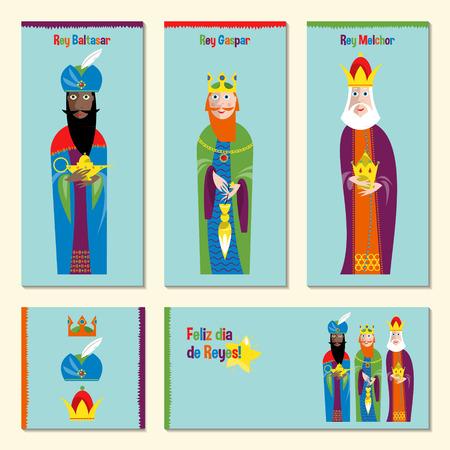 rey: Conjunto de 5 tarjetas españoles universales felicitación lenguaje de Navidad con tres reyes. Los Tres Reyes Magos. Feliz dia de reyes magos. Plantilla. Ilustración del vector.