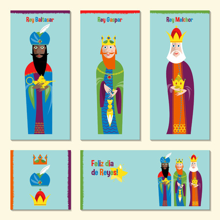 cartoon party: Set of 5 universal spanish language Christmas greeting cards with three kings. Three wise men. Feliz dia de reyes magos. Template. Vector illustration.