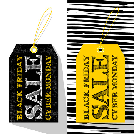 online specials: 2 labels template for Black Friday and Cyber Monday. Shopping sale concept. Vector illustration