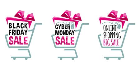 Etiketten voor Black Friday en Cyber Monday. Supermarkt winkelwagentjes. Winkelen verkoop concept. vector illustratie