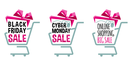 Labels for Black Friday and Cyber Monday. Supermarket shopping carts. Shopping sale concept. Vector illustration