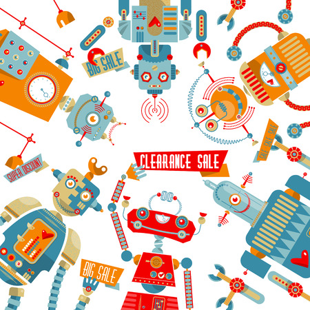 Big sale discount advertisement.Robots of different shapes with placards. Vector illustration Illustration