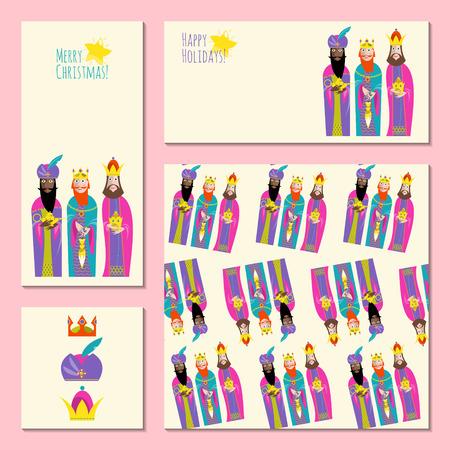 wise men: Conjunto de 4 tarjetas universales de felicitación de Navidad con tres reyes. Los Tres Reyes Magos. Plantilla. Ilustración del vector. Vectores