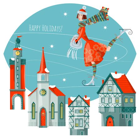 Girl skates at the rink in a winter city. Merry Christmas. Vector illustration Ilustracja