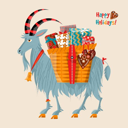 gift basket: Scandinavian Christmas tradition. Yule goat (Christmas symbol) with a gift basket. Vector illustration