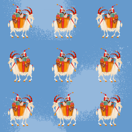 gift basket: Scandinavian Christmas tradition. Gnome and Yule goat with the gift basket. Seamless background pattern. Vector illustration Illustration