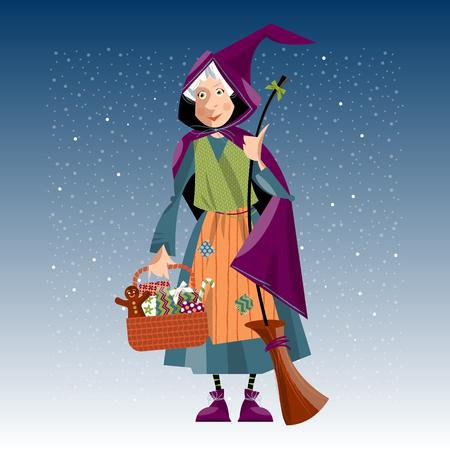 escoba: Tradición navideña italiana. Befana. Mujer mayor con la escoba y una cesta festivo. Ilustración del vector.