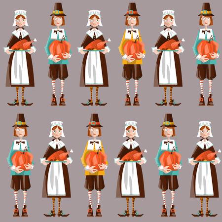 Pilgrim couple. Thanksgiving. Seamless background pattern. Vector illustration Ilustração