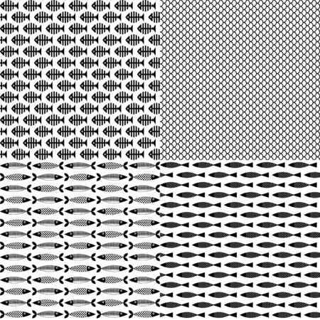anchovy: 4 fish themed patterns. Black-and-white. Vector illustration