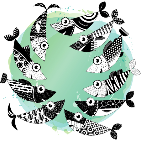 cold blooded: Black and white decorated fishes.Sardines. Vector illustration