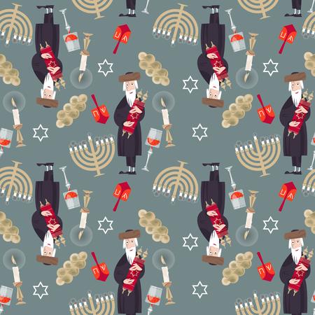 torah scroll: Jewish tradition. Seamless background pattern with  orthodox jewish man, torah, candles, kiddush cup, challah and menorah. Vector illustration Illustration