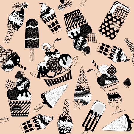 helado caricatura: Diferentes sabores de helados. En blanco y negro. Modelo inconsútil del fondo. Ilustración del vector. Vectores