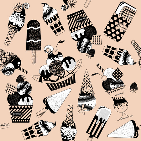waffle ice cream: Different flavors of ice cream. Black and white. Seamless background pattern. Vector illustration.