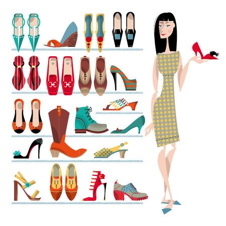 pijamada: Mujer con la colección de zapatos en el fondo blanco. Tiempo de compras. Ilustración vectorial