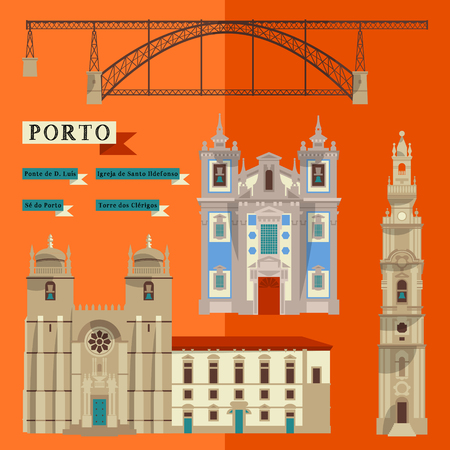 point of interest: Sights of Porto. Portugal, Europe. Vector illustration
