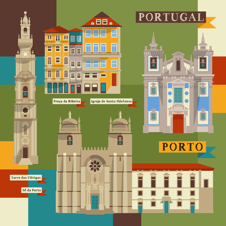 oporto: Sights of Porto. Portugal, Europe. Vector illustration