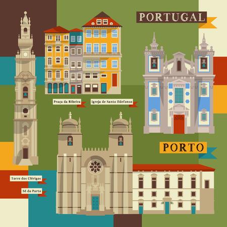 Sights of Porto. Portugal, Europe. Vector illustration