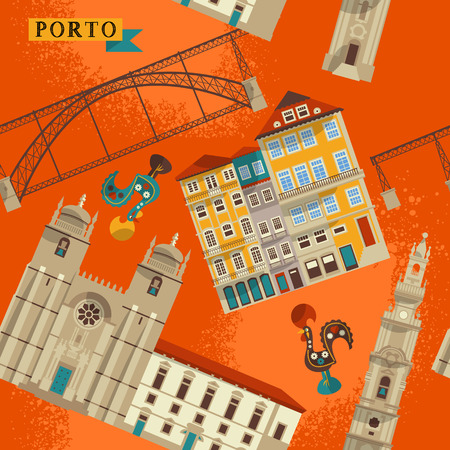 Sights of Porto. Portugal, Europe. Seamless background pattern. Vector illustration