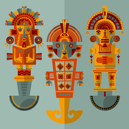 Inca ceremonial knifes. Tumi. Vector illustration
