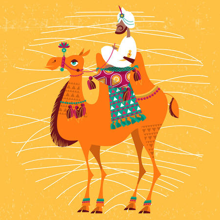 cartoon camel: Decorated camel. Vector illustration.