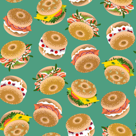 cartoon tomato: Bagels with various topping. Seamless background pattern. Vector illustration