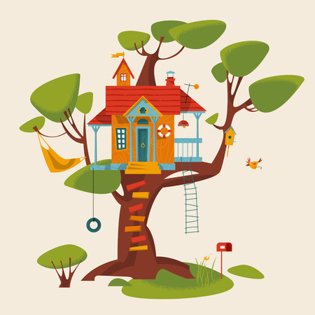 Tree house. Vector illustration Çizim