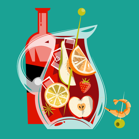 Traditional spanish drink. Sangria. Vector illustration Çizim