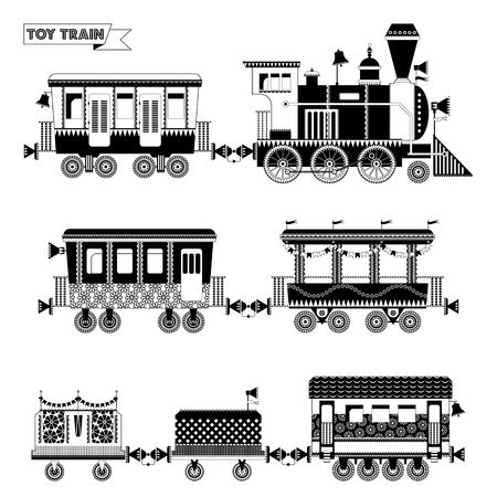 black train: Toy train. Locomotive with several coaches. Black and white. Vector illustration