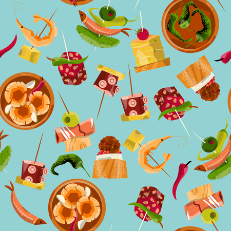 Traditional spanish food. Selection of tapas. Seamless background pattern. Vector illustration Ilustração