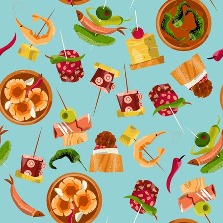 Traditionele Spaanse gerechten. Selectie van tapas. Naadloos patroon als achtergrond. vector illustratie