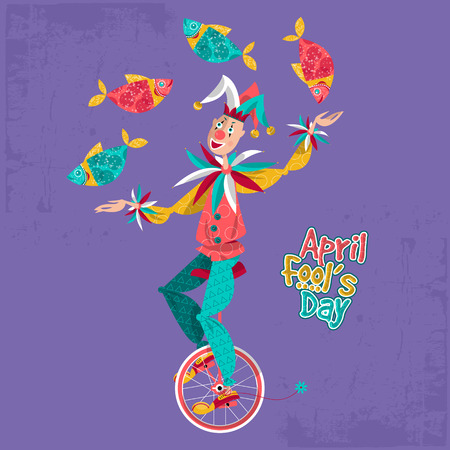 pranks: Clown on unicycle juggling fish. April Fool's Day. Vector illustration