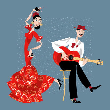 Flamenco. Dancing girl and guitarist. Vector illustration Çizim