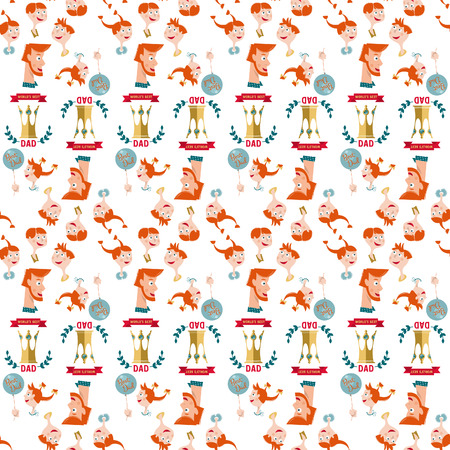 king s: Father and children. Happy Father's Day. Seamless background pattern. Vector illustration
