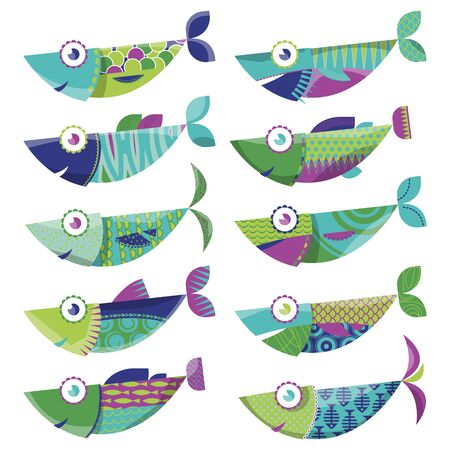 sardines: Set of 10 multi-colored decorated fishes. Sardines. Vector illustration