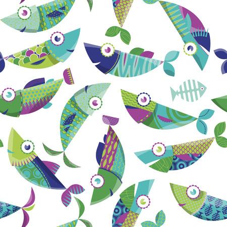 複数の色の装飾が施された魚。シームレスな背景パターン。ベクトル図