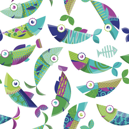 Multi-colored decorated fishes. Seamless background pattern. Vector illustration