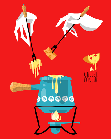 cartoon hands: Cheese fondue. Traditional swiss food. Vector illustration Illustration