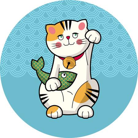 물고기와 함께 전통적인 일본 운이 고양이. Maneki-neko. 벡터 일러스트 레이 션