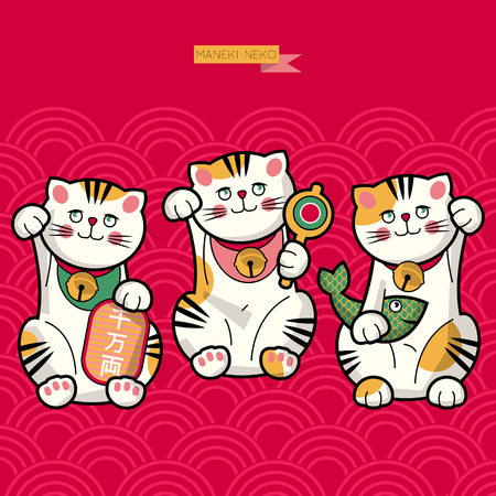 maneki neko: Traditional japanese lucky cat. Maneki-neko. Vector illustration