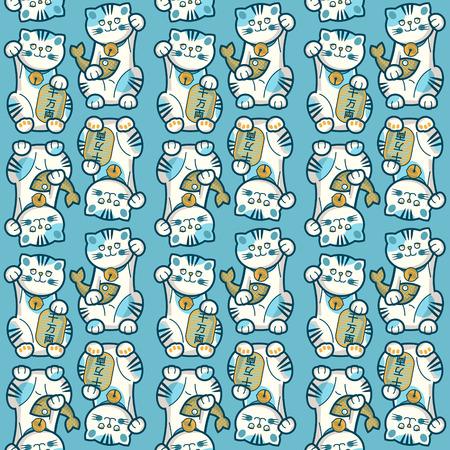 fortune cat: Traditional japanese lucky cat. Maneki-neko. Seamless background pattern. Vector illustration