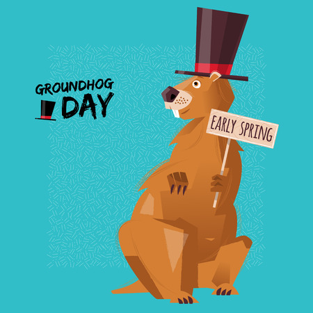 siluetas de animales: Groundhog Day. Early spring. Vector illustration