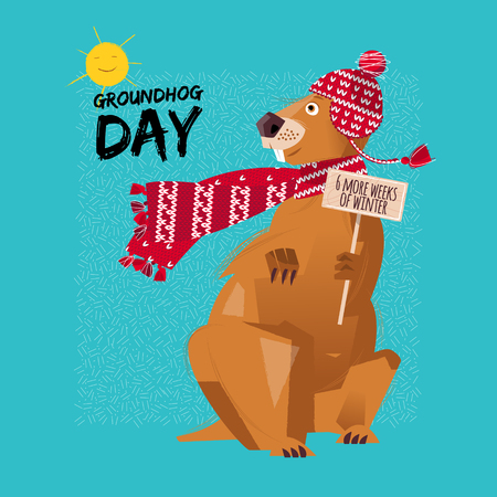 sun: Groundhog Day. 6 more weeks of winter. Vector illustration